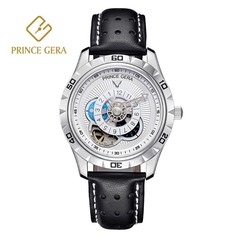 PRINCE GERA Shining Silver Male Automatic Watch Luxury