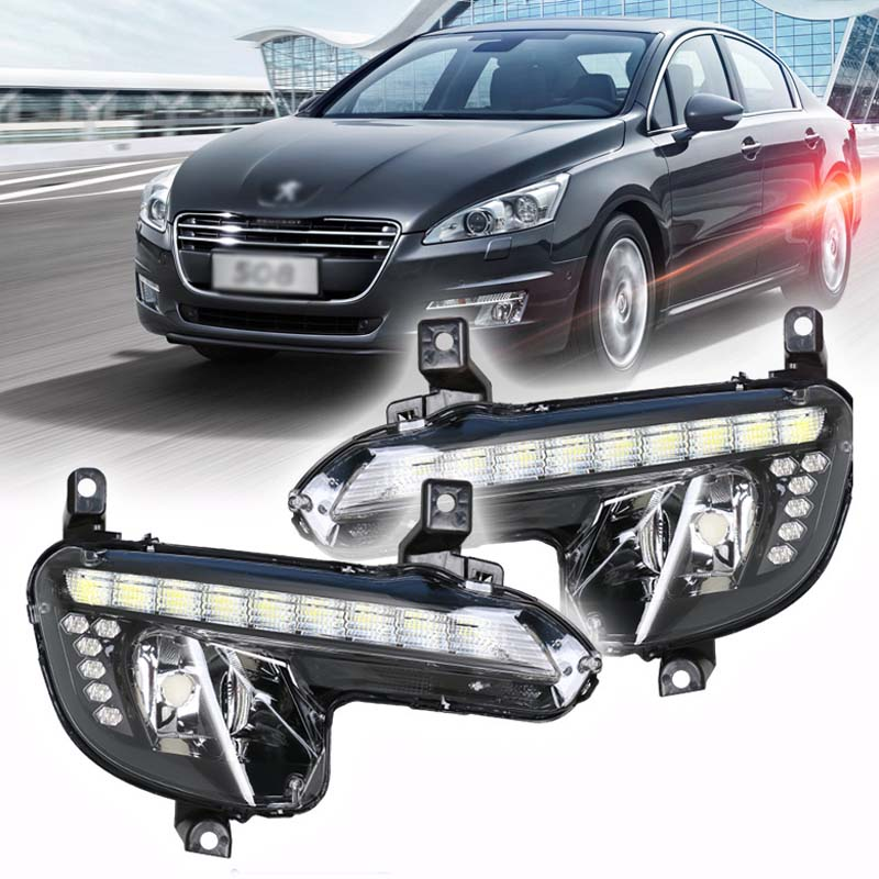 Ownsun Brand New Updated LED Daytime Running Lights DRL With Black Fog Light Cover For Peugeot 508 цена и фото