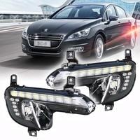 Brand New Updated LED Daytime Running Lights DRL With Black Fog Light Cover For Peugeot 508
