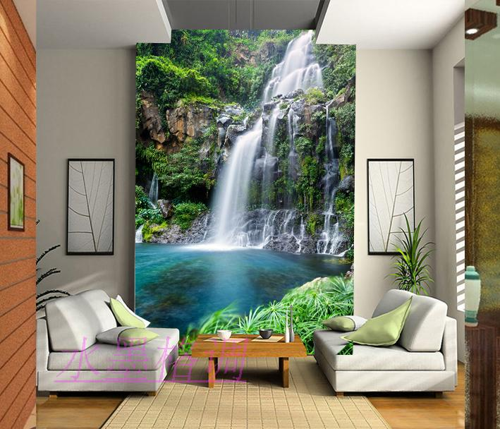 Wholesale 3d Wall Mural Wallpaper for Living Room Entranceway Sofa Background waterfall 3D Murals Landscape 3D