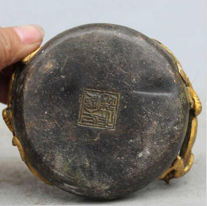 "WBY907 + + + 4 ""מסומן פנג שואי הסיני ברונזה מוזהב מאפרה חית PiXiu בעלי החיים הדרקון פסל"