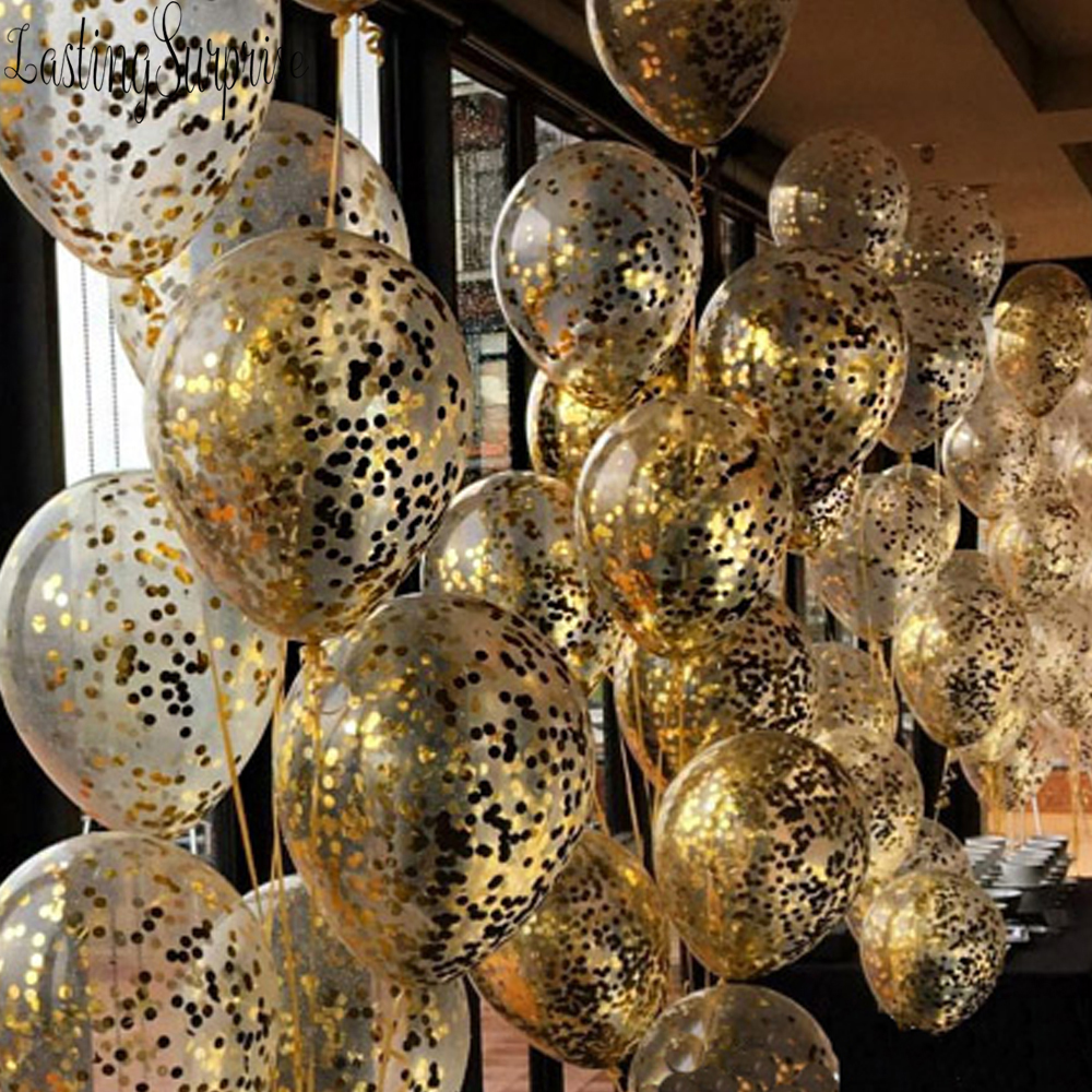 10pcs Clear Balloons Gold Star Foil Confetti Transparent Balloons Happy Birthday Baby Shower Wedding Rose Gold Party Decorations