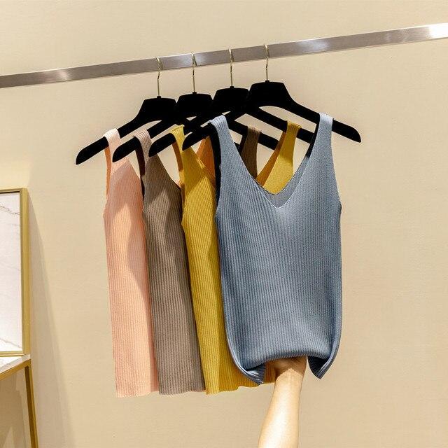 ספגטי רצועת גופיות סקסי נשים סריגי שרוולים חולצה חולצה מזדמן יבול צמרות חולצות multicolors רך חולצות