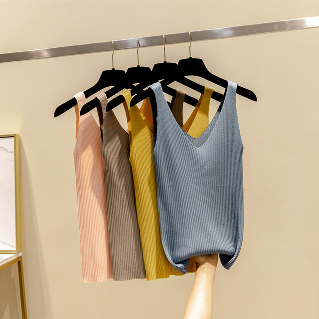 Spaghetti Correa tanque Tops Sexy mujeres punto camiseta sin mangas blusa Casual Tops camisetas multicolores suave tops