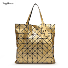bao bao issey femmes miyake Geometric square Top-handle bags women hand shoulder bag design Casual extra large designer Tote bag