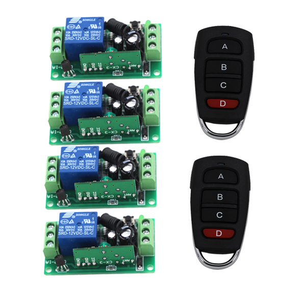 DC 9V 12V 24V Wireless Remote Control RF Remote Control Switch Systerm 1CH 10A Relay Receiver 4CH Transmitter 315/433Mhz
