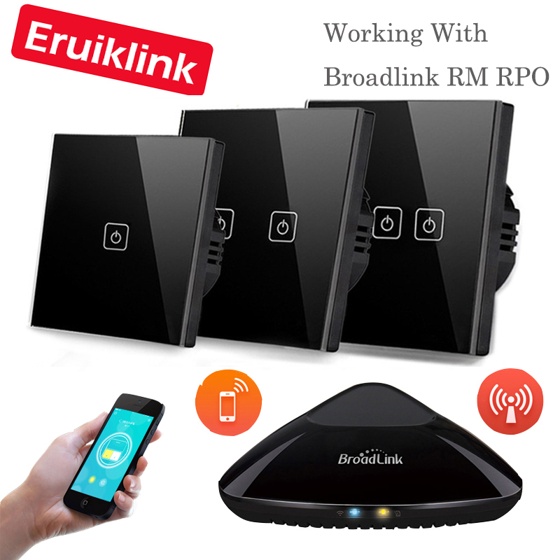 Eruiklink EU/UK Standard 1 / 2 3 Gang RF433 Remote Control Wall Touch Switch,Wireless Light Switches Smart Home