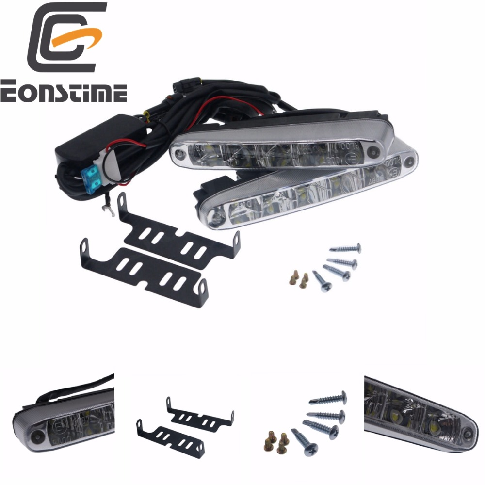Eonstime 2stk Universal Super Bright Car Daytime Running Lights 5LED DRL Daylight White 12V / 24V DC-huvudlampa 10W Off-funktion E4