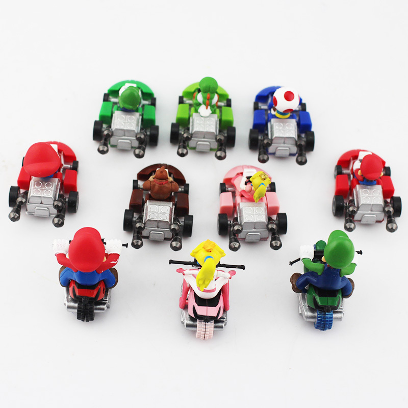 Image 3 - 10pcs/lot Super Mario Bros Kart Pull Back Car Mario Luigi Yoshi Toad Mushroom Princess Peach Donkey Kong Figure Toy-in Action & Toy Figures from Toys & Hobbies
