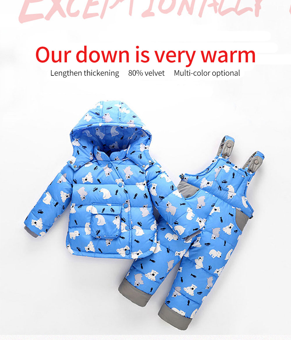 Fashion Children Girls Parkas Set Winter Warm Ski Suit Duck Down Hooded Jacket Pants Overalls Boys Kids Coat Clothing Set children s winter warm down jacket suit hooded 2 piece set girls clothing brand 1 3y baby boy fashion white duck down jacket set