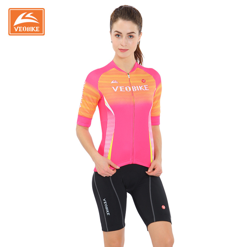 Veobike 2018 Pro Cycling Jersey Women Bicycle Jersey Set 3D Padded Shorts Summer Cycling Sets MTB Mountain Bike Team Clothes leobaiky 2018 pro long sleeve cycling jersey sets breathable 3d padded sportswear mountain bicycle bike apparel cycling clothing