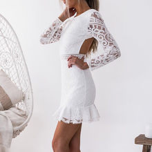 763c3bf0a4f6 (Ship from US) Sexy Women White Lace Dress New 2018 Winter O-Neck Long  Sleeve Red Black Club Factory Bodycon Bandage Midi Party Dresses