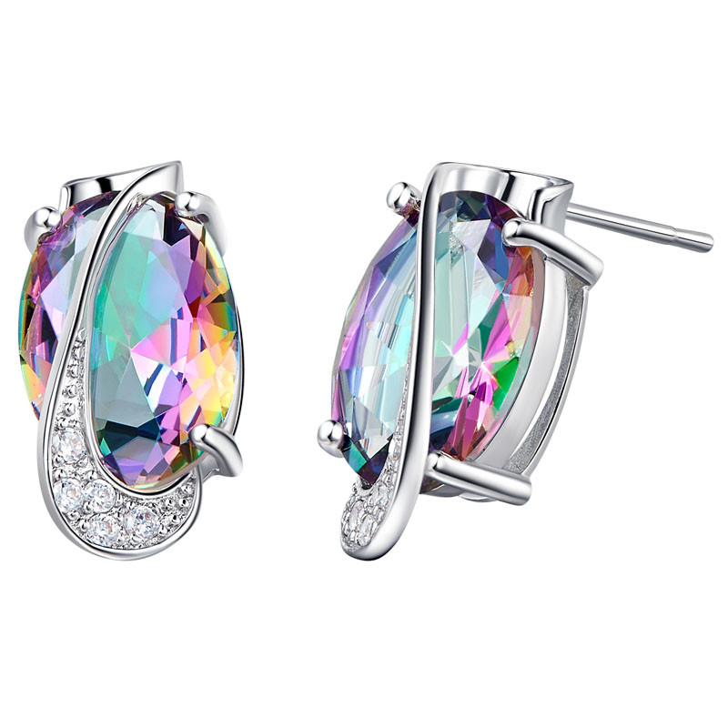 Mystic Topaz Silver Earrings