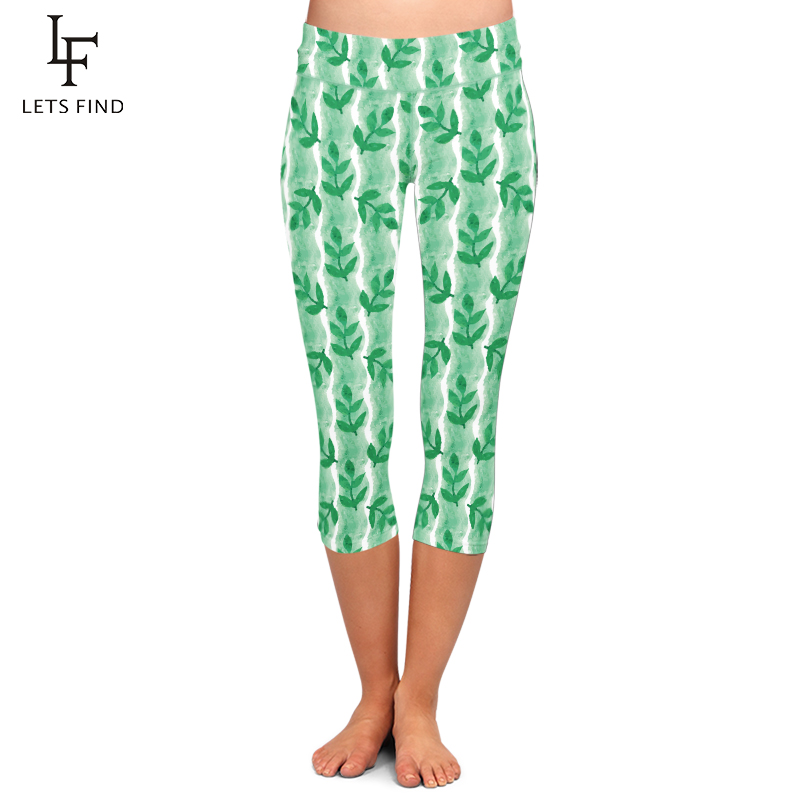 High Elasticity Women Capri Leggings Green Leaf Printing Mid-Calf 3/4 Leggings High Waist Fashion Summer Pants Plus Size