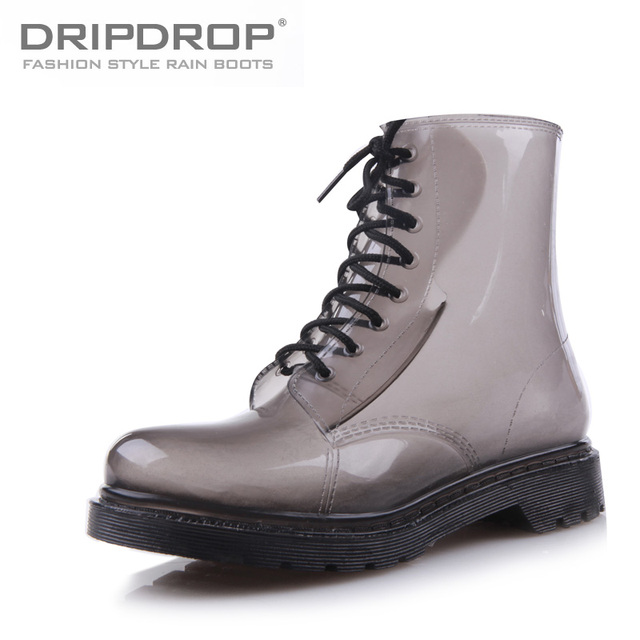 2013 Dripdrop aesthetic fashion sexy translucent women's smoked martin boots  rainboots ash water shoes
