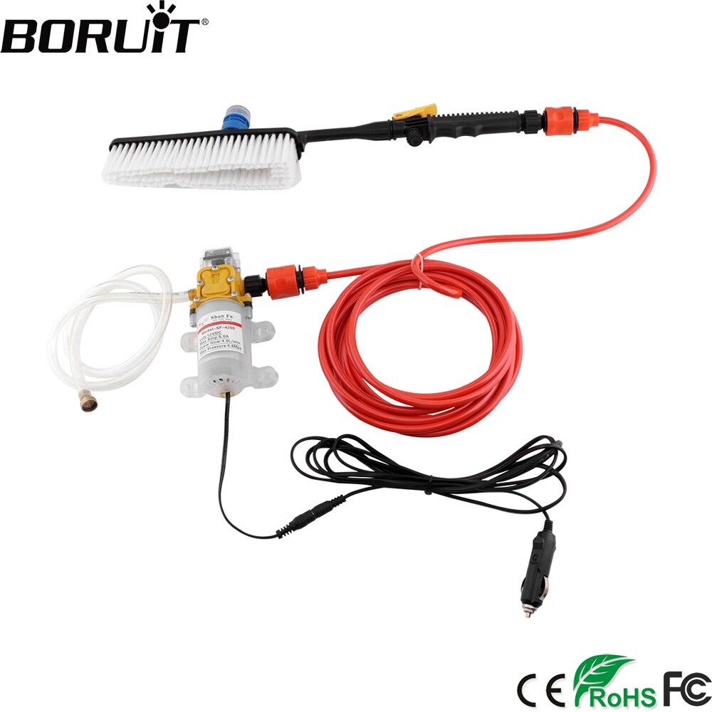 BORUiT 12V High Pump Pressure Car Washer Gun Portable Cleaner Motorcycles Care Pump Sprayer Automobiles Wash Maintenance Tool