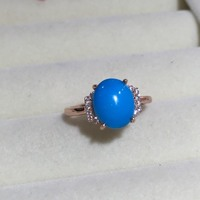 Haleigha 925 Sterling Silver Real Big Nature American Turquoise Gem Fine Jewelry Rose Gold Color Classic