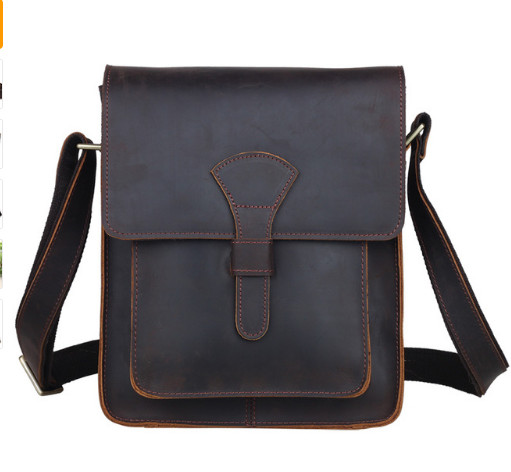 Men Genuine leather cross body messenger bag dark brown vintage style bag for iPad crazy horse leather small bag сумка moon messenger bag dark brown melange 978