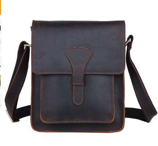 Men Genuine leather cross body messenger bag dark brown vintage style bag for iPad crazy horse leather small bag