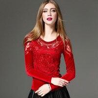 1pcs Ladies Plus Size Sexy Lace Blouses Tops 2016Autumn Pleuche Lace Embroidery Splicing Primer Shirt Women