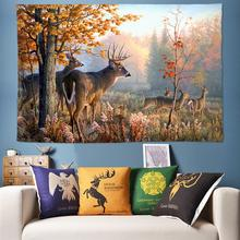 Autumn Natural Tapestry Forest Wall Hanging Animal Decoration Elk Boho Decor Psychedelic Tree 3D Rug