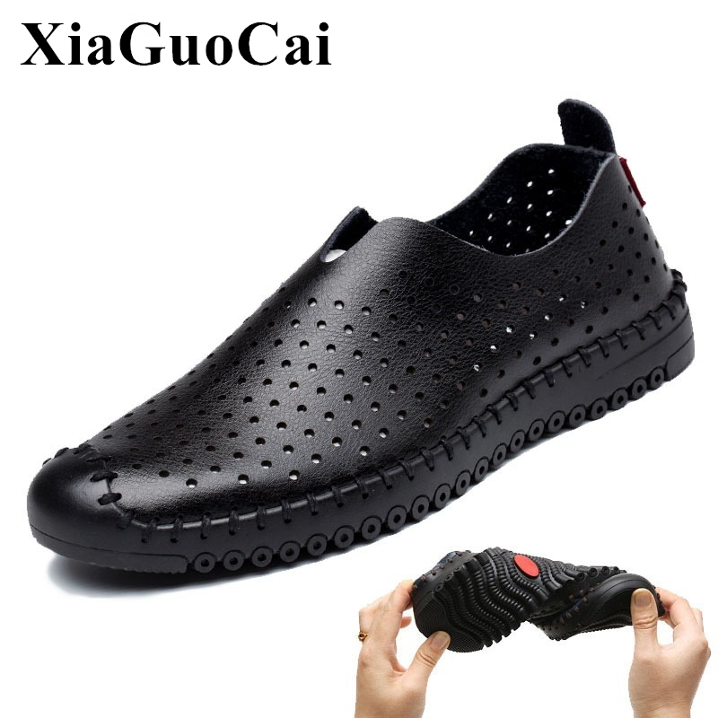 Summer Men's Shoes Genuine Leather Hollow Breathable Slip-on Casual Shoes Anti-odor Soft Sole Driving Flats Shoes Men H245 35 branded men s penny loafes casual men s full grain leather emboss crocodile boat shoes slip on breathable moccasin driving shoes