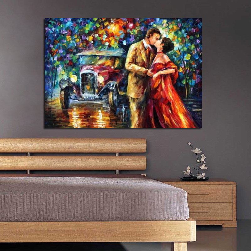 Lover in Landscape 100 Hand Painted Palette font b Knife b font Oil Painting on Canvas