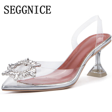 2019 Summer Women Transparent High Heel Sandals Sexy Fashion 3~9CM Women's Shoes Crystal Party Ladies Thin Heels Sandals Shoes цена 2017