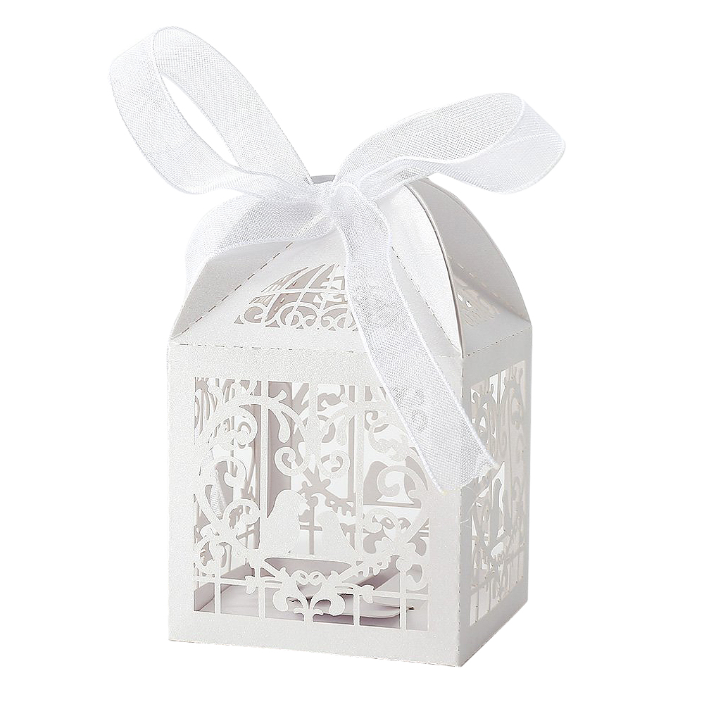 UESH 50x Dragees Box Candy Heart White Bird Cage for Wedding Baptism