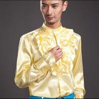 Żółty moda punk szczupła sexy wzburzyć koszula mężczyzna koszula z długim rękawem koszula nastoletnia koreański mężczyzna osobowość etapie piosenkarka taniec