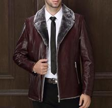 2017 men's brand leather jacket faux two piece plus velvet plus size luxury leather coat winter coat men/ M-3XL