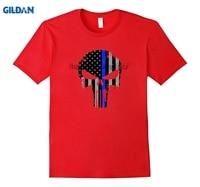 GILDAN The Skull Thin blue line Law Enforcement T Shirt
