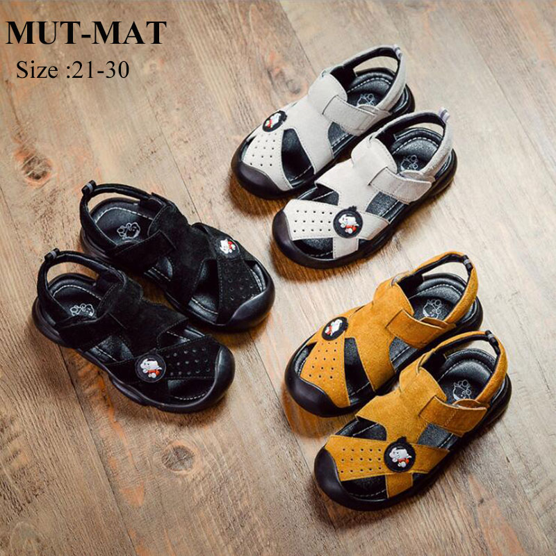 Kid Shoes Children Leather  Shoes Boy's And Girl's Holiday Essential Toe Protection  Wearable And Softy Sole Beach Sandals