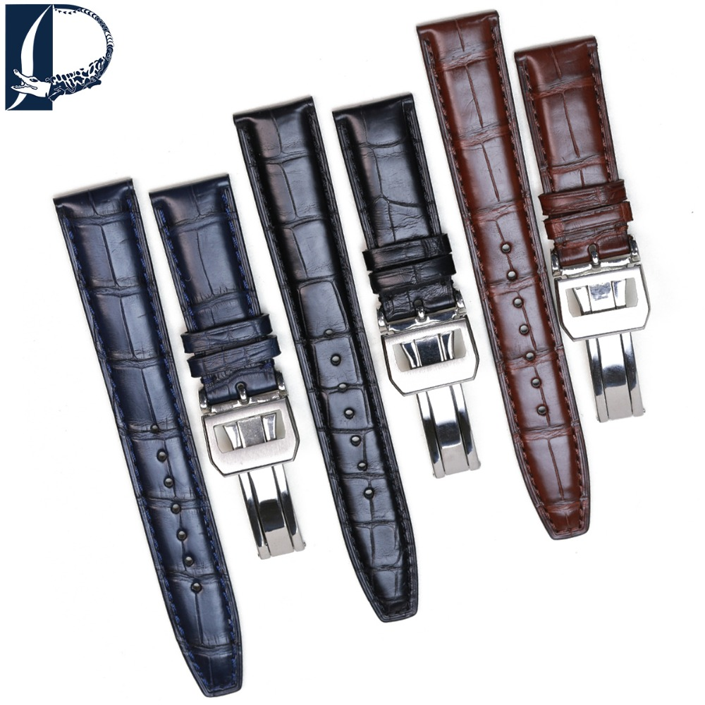 Pesno Suitable for IWC Portuguese Crocodile Leather Watch Accessories Men Black Brown Dark Brown Genuine Leather Watch Strap