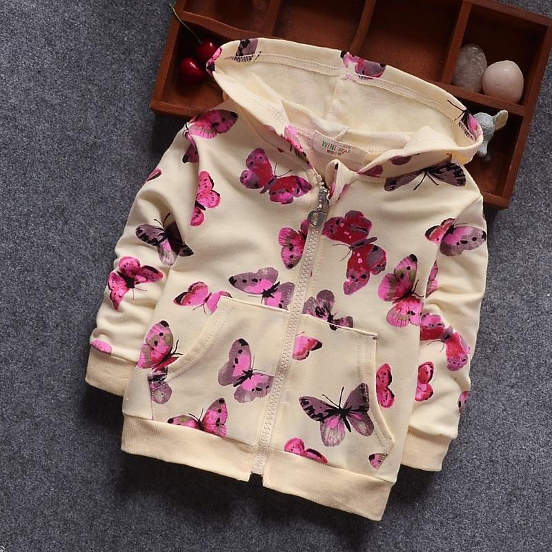 Bibicola spring autumn girls jacket children girls hooded outerwear coat kids butterfly printed windbreaker girls outfits