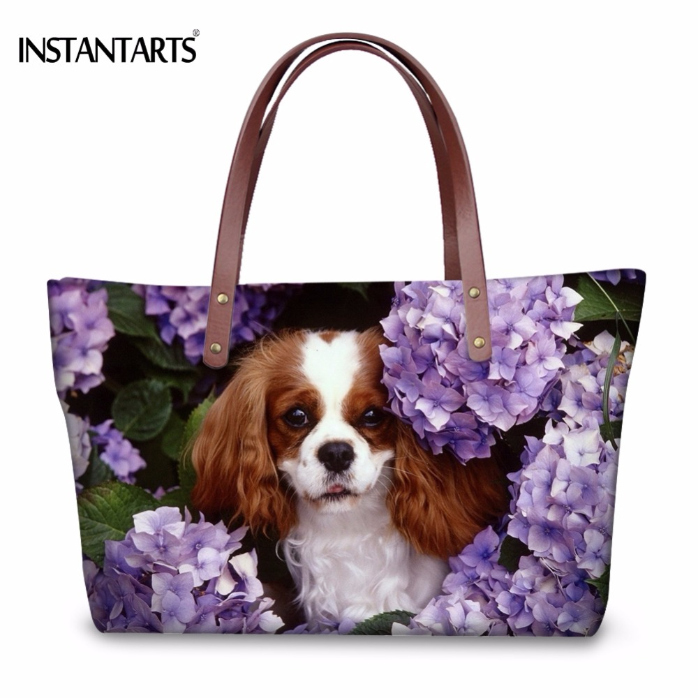 INSTANTARTS Funny Dog Charles Print Women Large Tote Bags Fashion Female Shopping Top-Handle Bags Brand Design Travel Handbags
