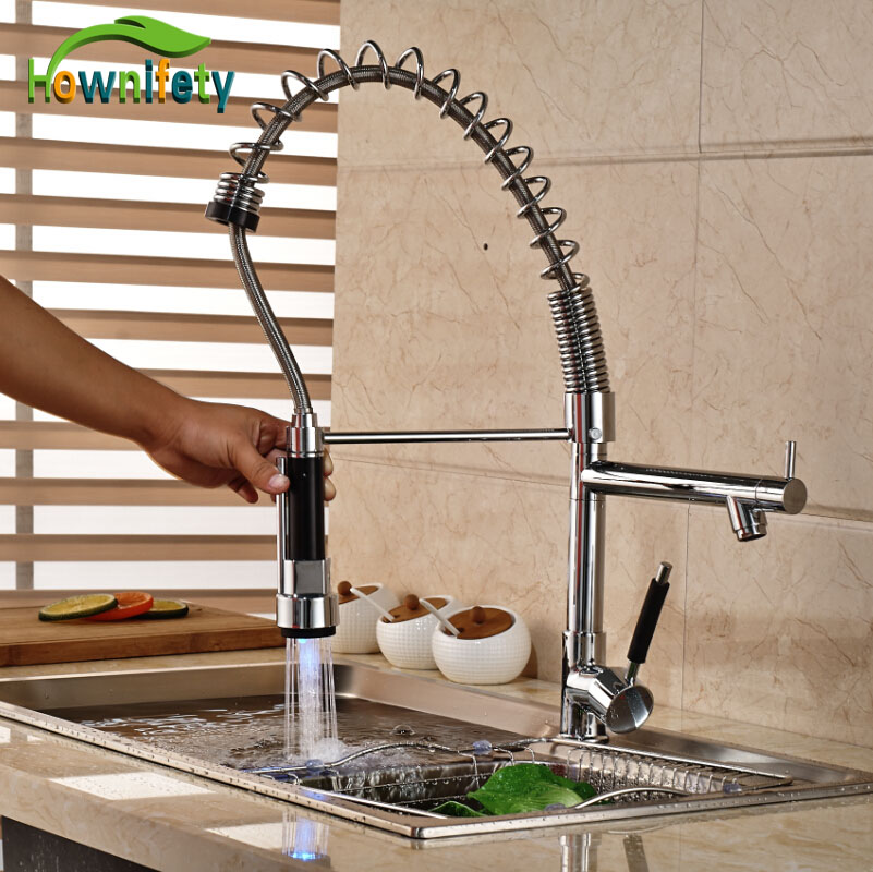 Chrome Kitchen LED Colors Singel Handle Sink Faucet One Hole Pull Down Spray Mixer Tap chrome polished pull down spray kitchen single handle sink faucet one hole mixer tap