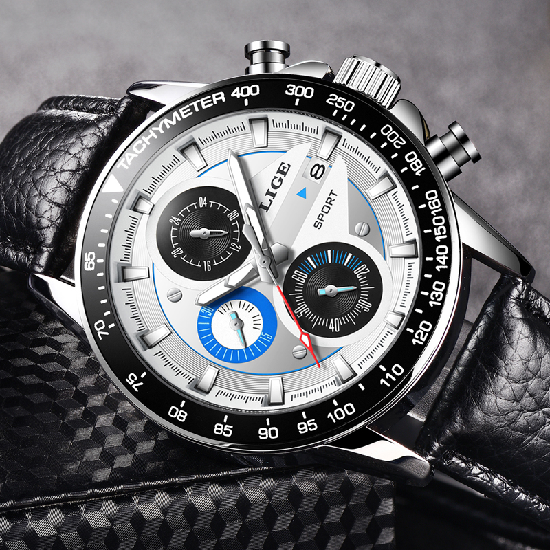 LIGE Fashion Quartz Sport Watch Men Business Full Steel Clock Mens Watches Top Brand Luxury Waterproof Watch Relogio Masculino