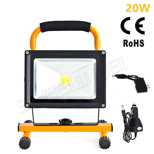 1pcs 20w Waterproof Outdoor Led Flood Lighting Rechargeable Emergency Lamp Portable Spotlight Battery Ed