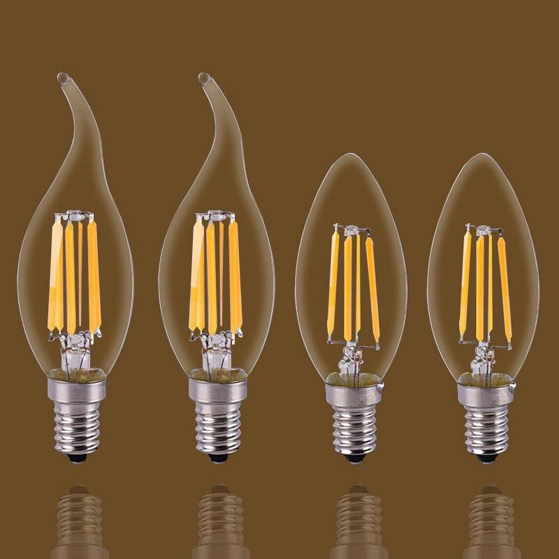 E14/E27  LED Candle Bulb E14 C35 Filament Light E27 LED Lamp  C35 C35L G45 220V COB LED Filament Light Decoration Lamp