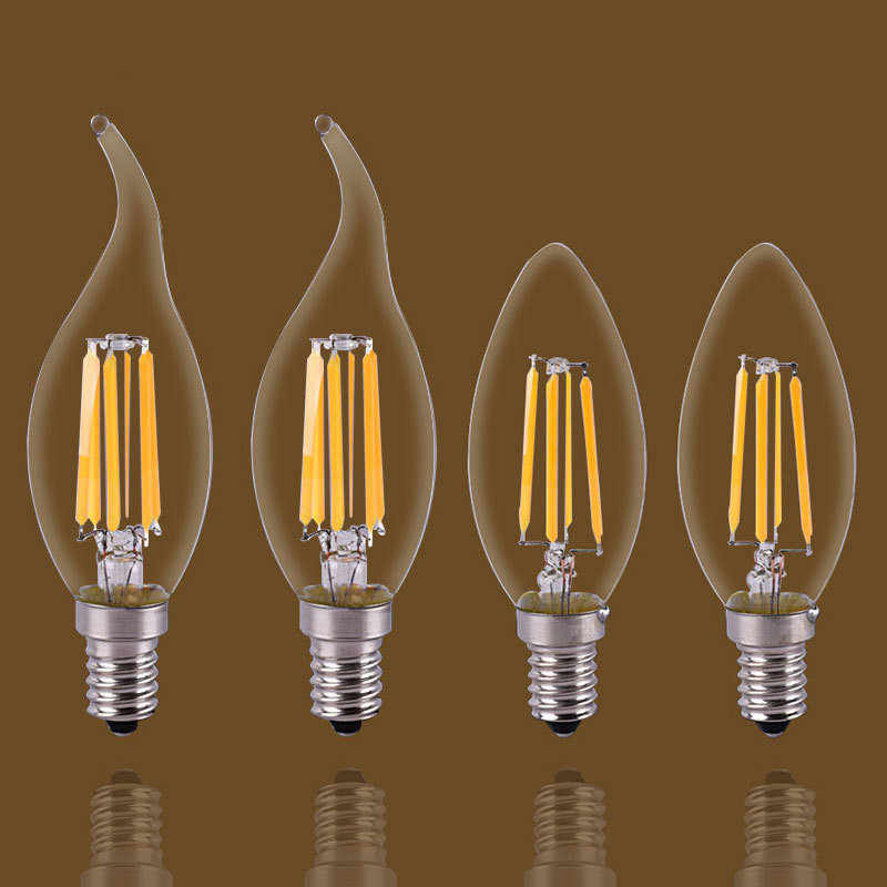 E14/E27  LED Candle Bulb E14 C35 Filament Light E27 LED Lamp  C35 C35L G45 220V COB LED Filament light Decoration lamp