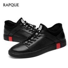 Mens kasual Sepatu kulit Laki-laki Sneakers desainer Lapisan atas sapi asli Bernapas Moccasins Berjalan Nyaman Lace-up RAPQUE