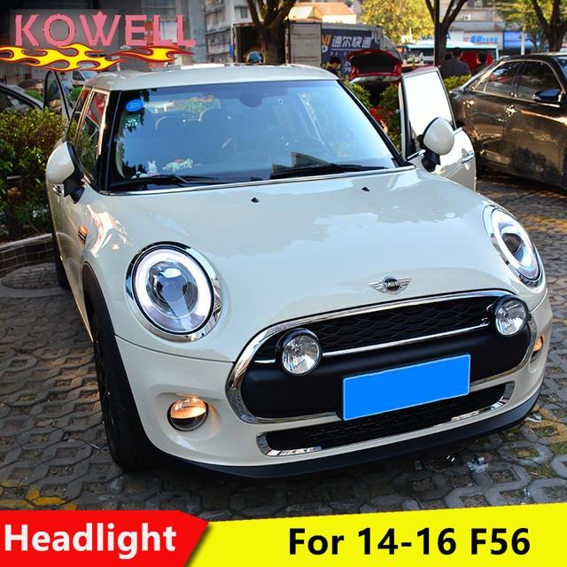 KOWELL تصفيف السيارة ل Mini F56 كوبر المصابيح الأمامية ل F56 LED رئيس مصباح الملاك العين led DRL الجبهة ضوء ثنائية زينون عدسة زينون HID
