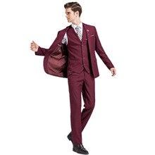 Мужская мода костюм высокого качества чистый цвет свадьбы жених костюм однобортный из трех частей (куртка + брюки + жилет)