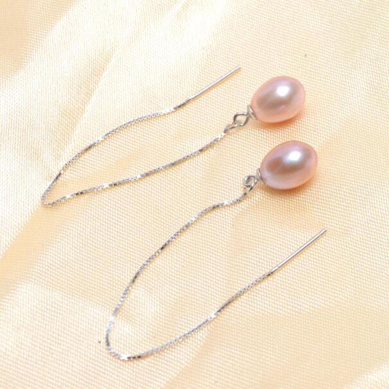 ASHIQI 925 sterling zilveren lange oorbellen voor dames 7-8 mm - Fijne sieraden - Foto 2