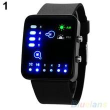 Популярные мужские и женские наручные часы с бинарным номером, синий светодиодный, силиконовый ремешок, кварцевые наручные часы NO181 5V4Y smt 89