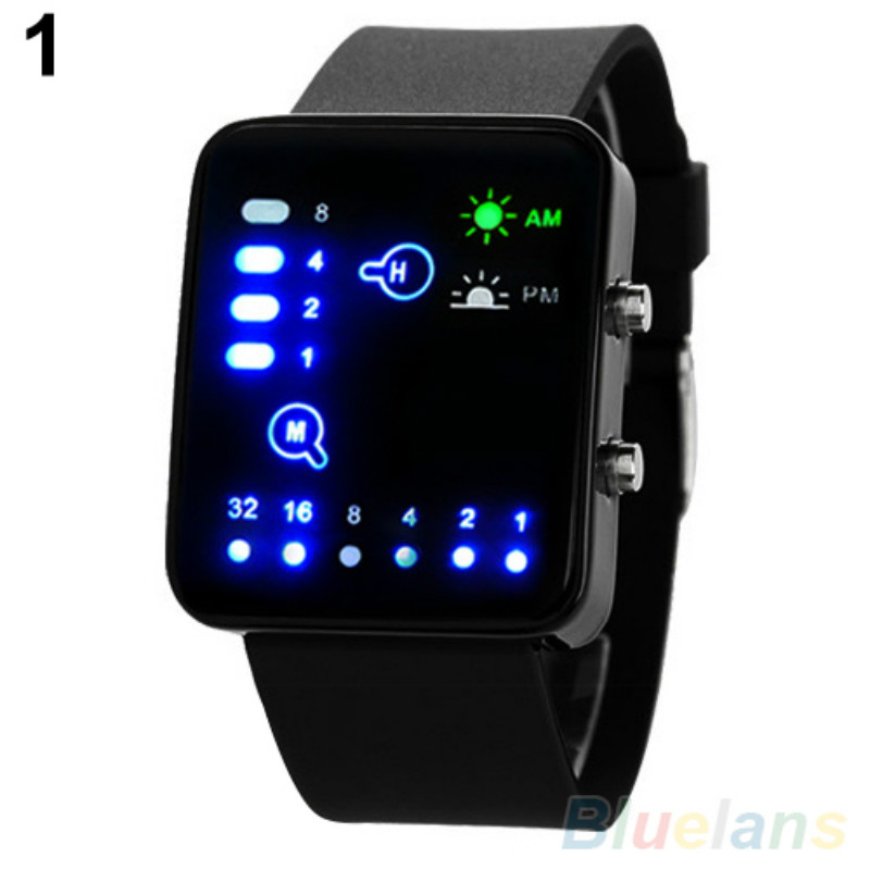 Popular Mens Womens Binary Number Blue LED Wristwatches Silicone Band Quartz Wrist Watch NO181 5V4Y Smt 89