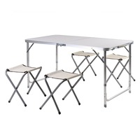 Household 5 Pieces/Set Aluminum Lightweight Spacesaving Luggage Table Seat Portable 4 Foldable Stools+1 Table Outdoor Furniture