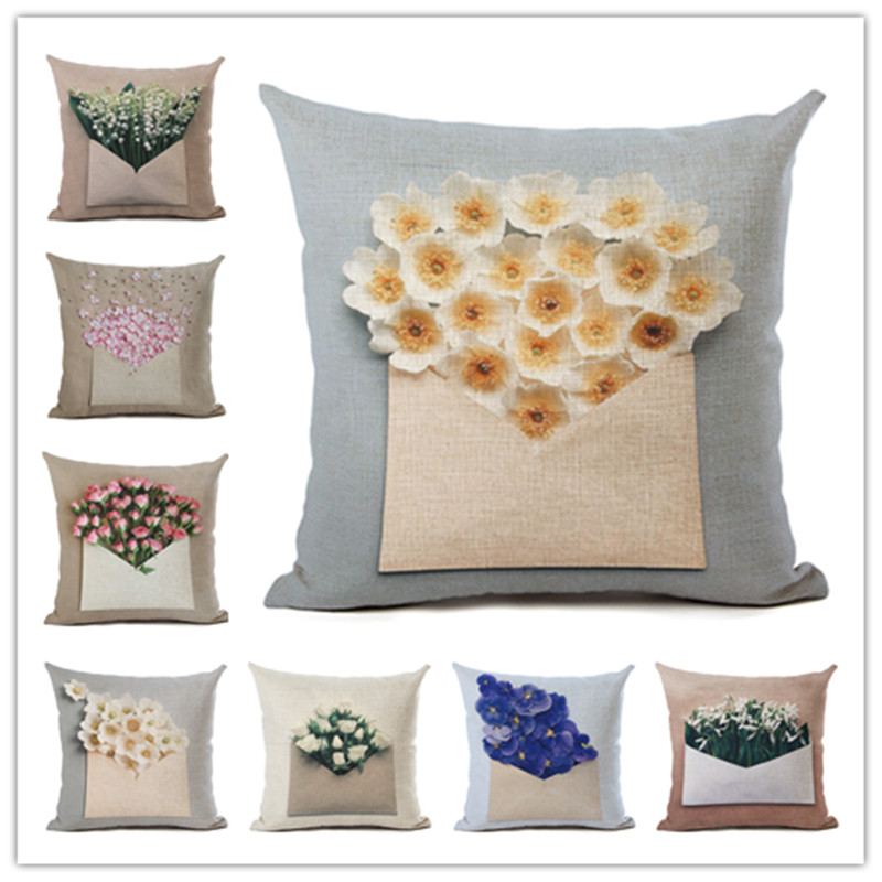 Hot Selling Flower Envelope Linen Cotton Square Retro Floral Home Decor Throw Pillow Cushion Cover Cojines
