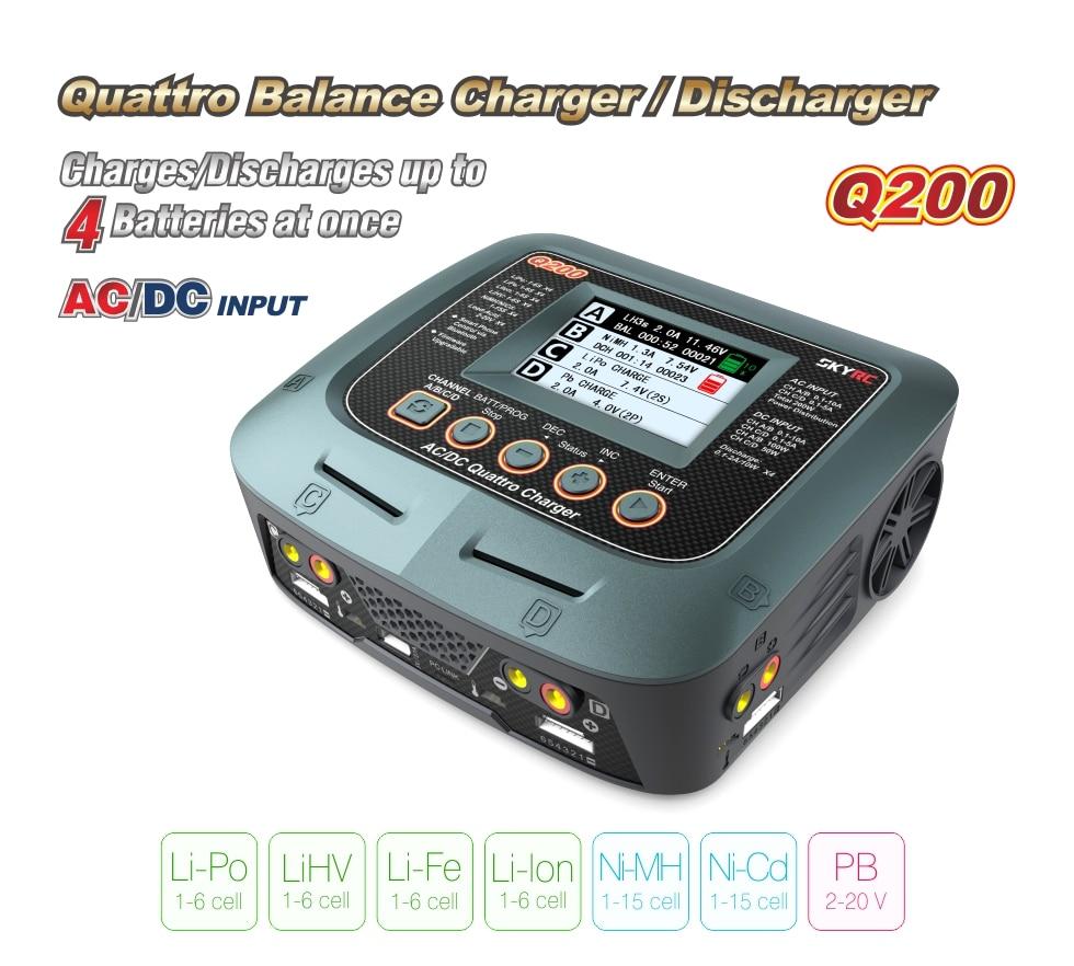 SKYRC Q200 inteligente Cargador/descargador de AC/DC Drone cargador de equilibrio para Lipo/LiHV/litio hierro /Ion/NiMH/NiCD/batería de plomo-ácido